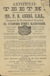 Advertisement for Mr P B André, 'Surgeon & Mechanical Dentist'